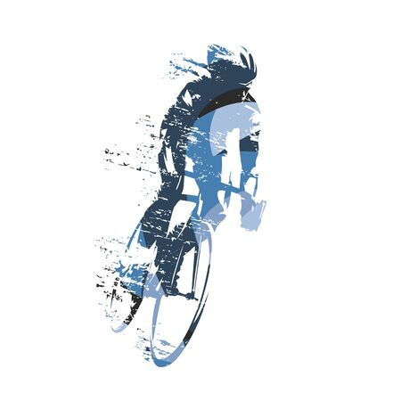 Cycling, abstract blue road cyclist, isolated vector illustration Vector Illustration