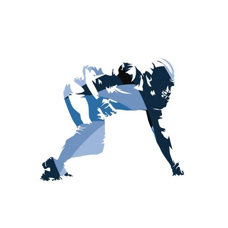 American football player, abstract blue vector illustration