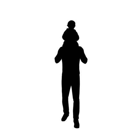 Papa porte un bébé sur son dos, père et enfant, silhouette vectorielle isolée
