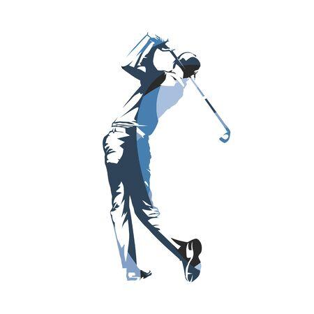 Jugador de golf, swing de golf, ilustración vectorial aislada