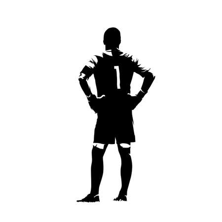 Soccer goalkeeper standing with hands on hips, abstract isolated vector silhouette. Rear view