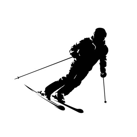 Downhill skier, active old man, ink drawing. Isolated vector silhouette. Winter skiing
