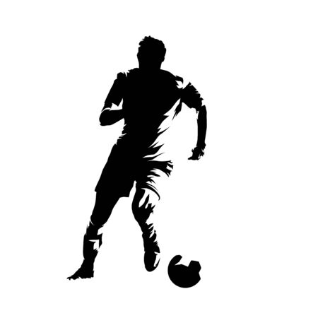 Soccer player running with ball, abstract isolated vector silhouette. Footballer ink drawing, comic style