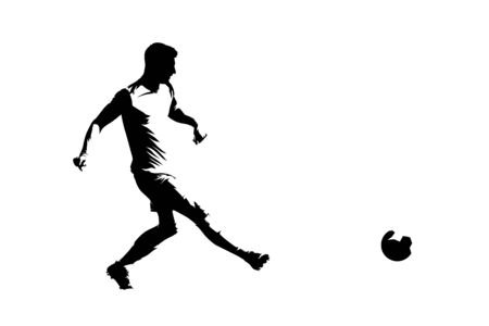 Soccer player passing ball, isolated vector silhouette, ink drawing, side view
