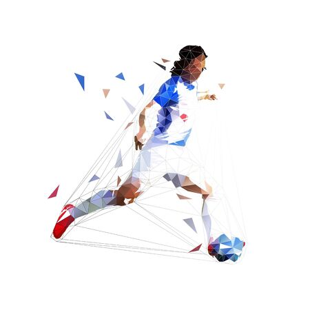 Soccer player kicking ball, low poly isolated vector drawing, geometric footballer Ilustrace