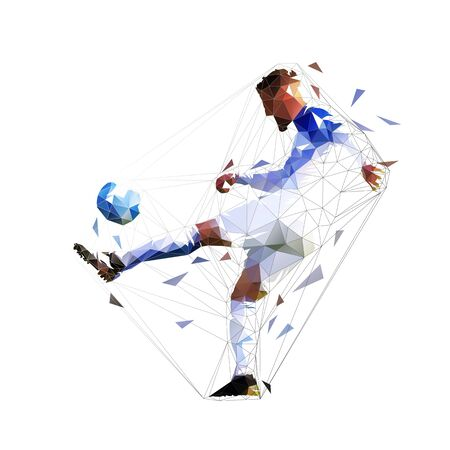 Soccer player kicking ball, isolated low poly vector silhouette, geometric drawing