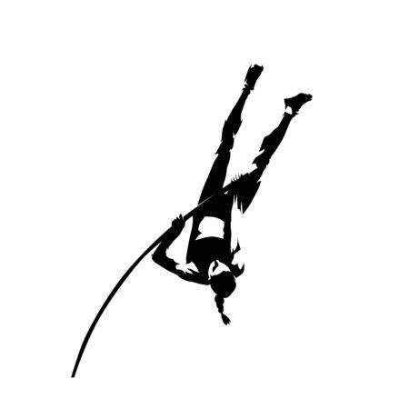Pole vault, woman athlete, isolated vector silhouette, ink drawing Ilustração