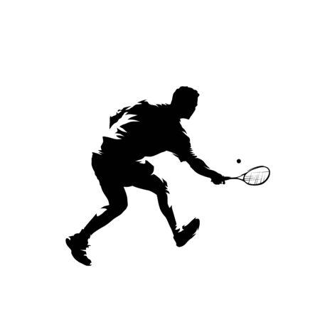 Joueur de squash, silhouette vecteur isolé. Athlète de dessin à l'encre avec raquette