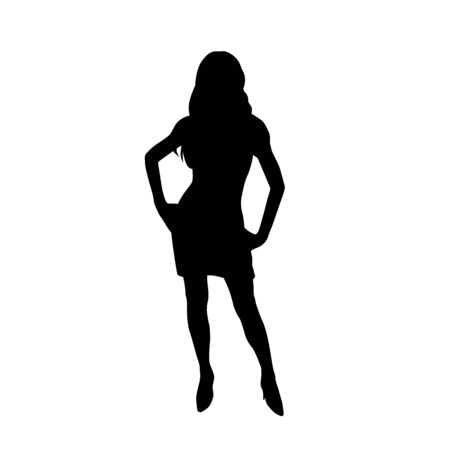 Business woman standing with hands on hips, slim woman in short dress, front view. Isolated vector silhouette