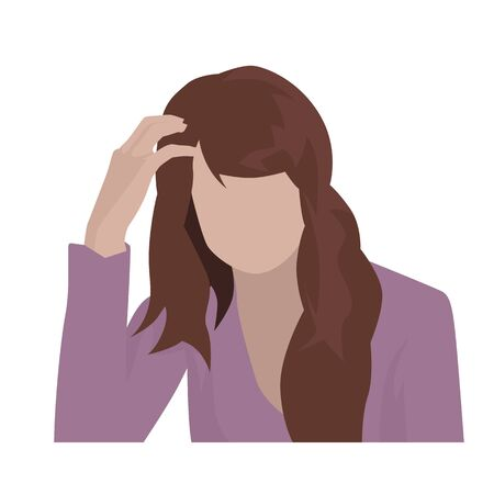 Young tired woman holding her head, isolated flat design illustration