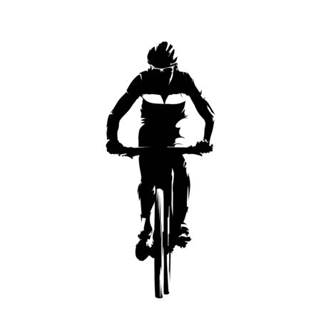 Mountain biker, isolated vector silhouette. Cycling