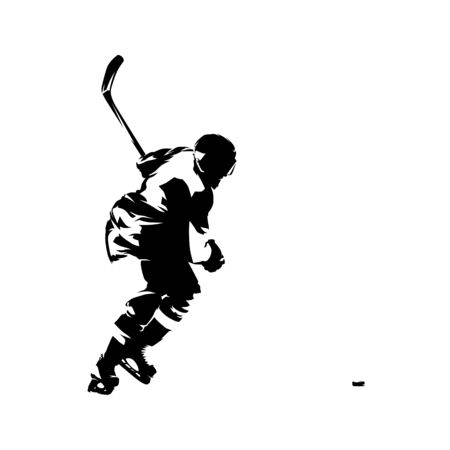 Ice hockey player shooting puck, isolated vector silhouette, ink drawing Фото со стока - 138382392