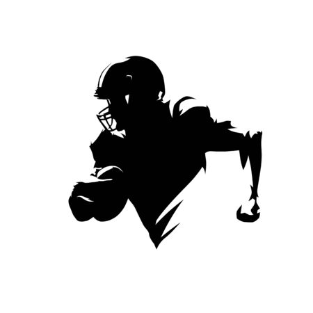 American football player running with ball, isolated vector silhouette. Ink drawing