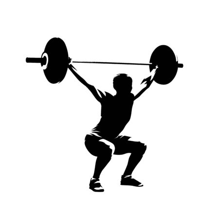 Weightlifting squats, strong woman litfs big barbell, isolated vector silhouette. Ink drawing