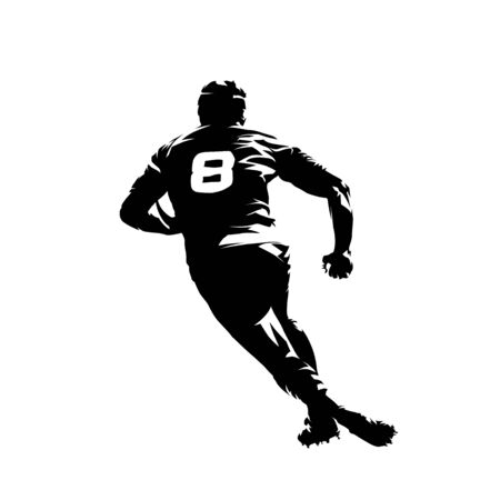 Rugby player running with ball, rear view, isolated vector silhouette. Ink drawing Ilustracja