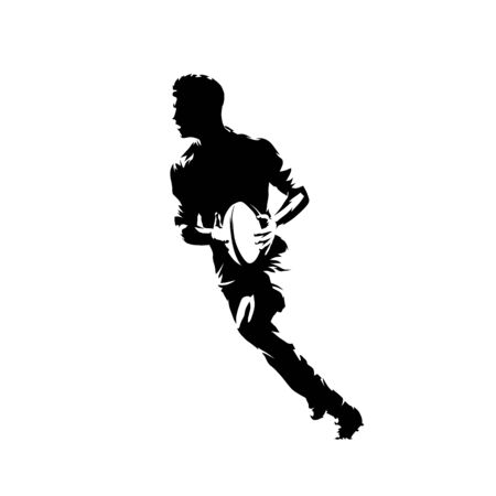 Rugby player running with ball, isolated vector silhouette, ink drawing
