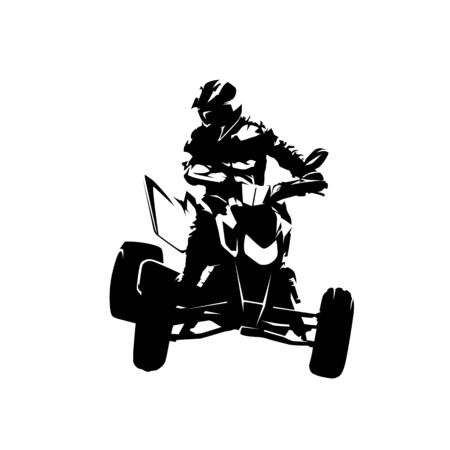 ATV isolated vector silhouette. Ink drawing, front view Illustration