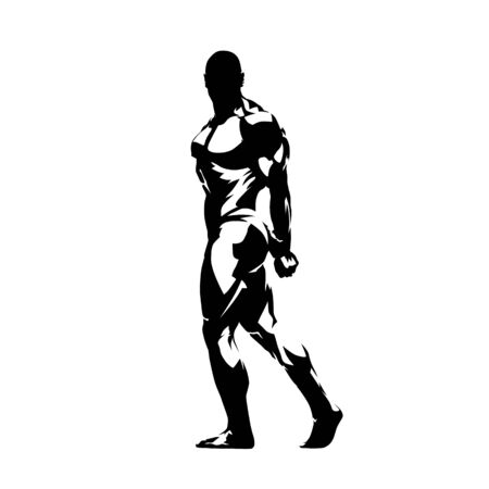 Bodybuilder, side view, isolated vector silhouette, ink drawing Illustration