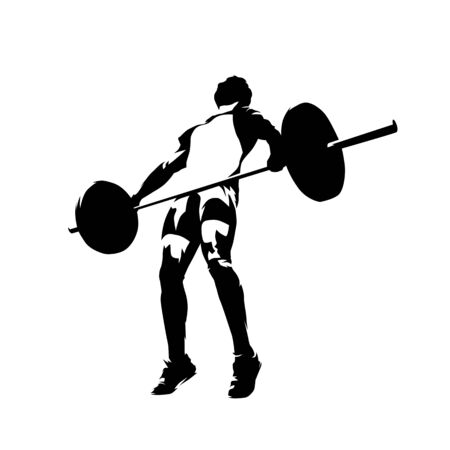 Weightlifter lifting big barbell, isolated vector silhouette. Ink drawing