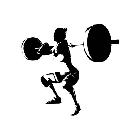 Squats, woman lifts big barbell, isolated vector silhouette. Ink drawing Ilustración de vector