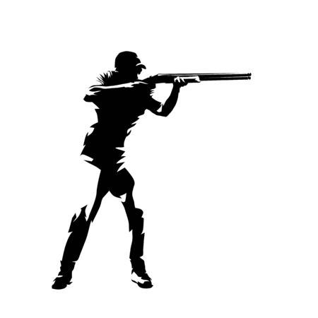 Tiro alla trappola, mirando atleta con la pistola, siluetta di vettore isolato. Disegno a inchiostro