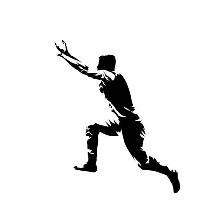 Parkour, young man jumping, extreme street sport. Isolated vector silhouette, ink drawing Vectores