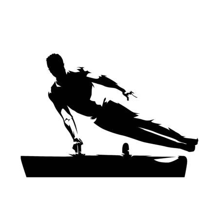 Gymnastique, gymnaste masculin exécute des flairs sur cheval d'arçons. Silhouette vecteur isolé. Dessin à l'encre