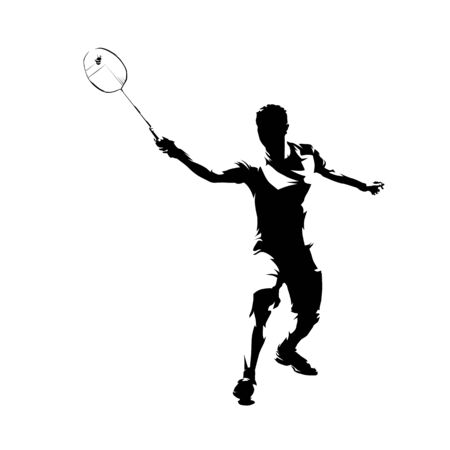 Badminton player, isolated vector silhouette, ink drawing Illustration