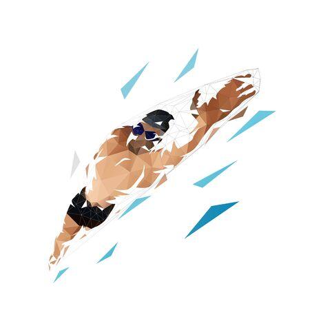 Crawl swimming, isolated vector swimmer low polygonal illustration Vettoriali