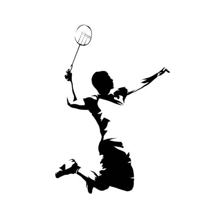 Badminton player, isolated vector silhouette, ink drawing
