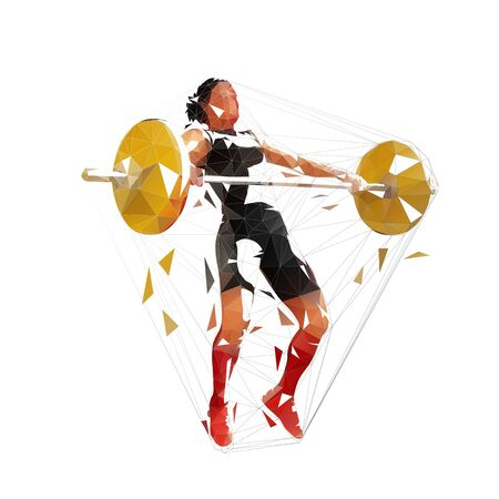 Weightlifting squats, strong weightlifter woman litfs big barbell, low poly vector isolated illustration