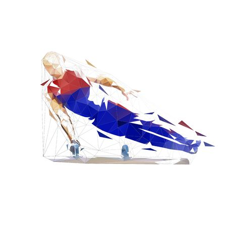 Low poly gymnast performs flairs on pommel horse. Geometric gymnastics. Isolated vector illustration