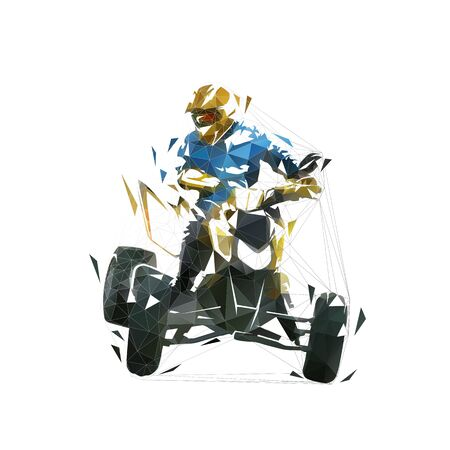 ATV rider, quad bike low polygonal vector illustration. Isolated geometric vector drawing, front view