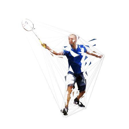 Giocatore di badminton, silhouette vettoriale isolato, disegno a inchiostro