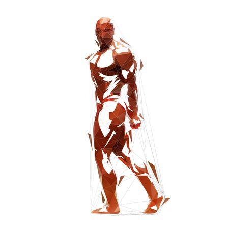 Bodybuilder, low polygonal vector illustration Ilustración de vector