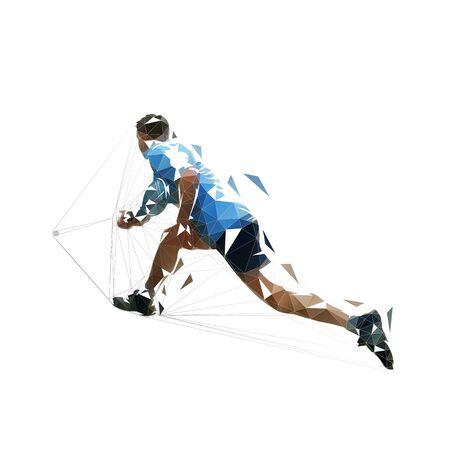 Joueur de squash, illustration vectorielle polygonale basse isolée. Athlète de dessin géométrique avec raquette Vecteurs
