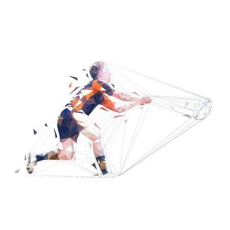 Rugby player passing ball, isolated low polygonal vector illustration. Geometric drawing. Throwing ball Illustration