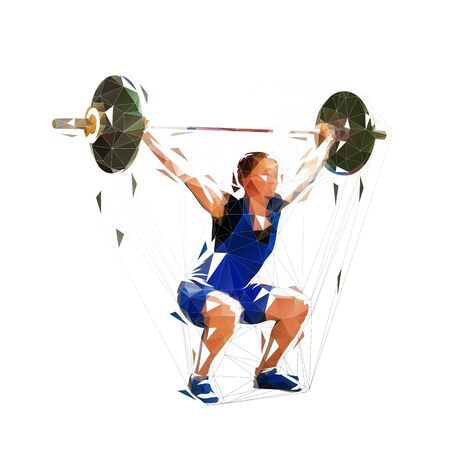 Weightlifting woman, low polygonal vector illustration. Isolated geometric strong woman litfs big barbell Vector Illustration