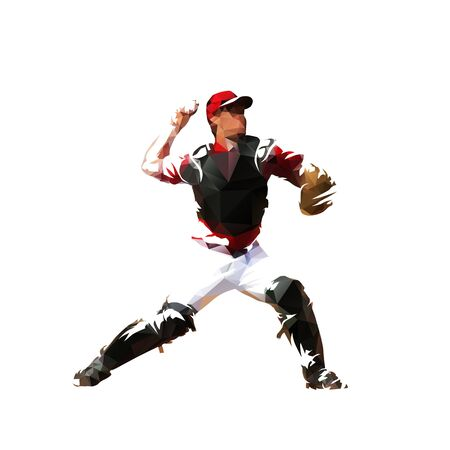 Baseball catcher throwing ball, isolated low polygonal vector illustration