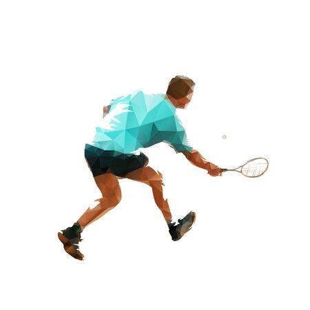 Squash player, isolated vector silhouette. Ink drawing athlete with racket Vecteurs