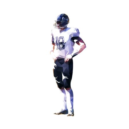 American football player standing with hands on hips, isolated low polygonal vector illustration Illustration