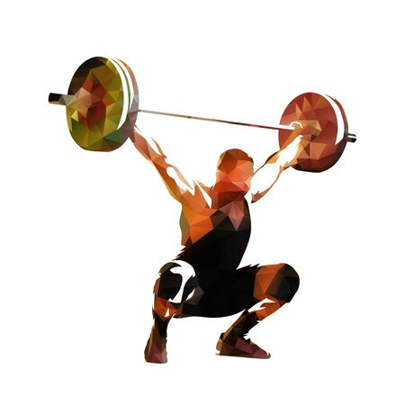Weightlifter lifting big barbell, isolated low polygonal vector illustration. Geometric drawing Ilustrace