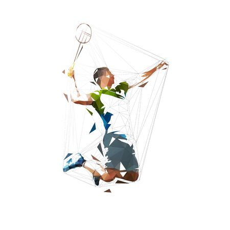 Badminton player, low polygonal isolated vector illustration, abstract geometric drawing