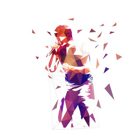 Singer, low polygonal abstract musician. Isolated geometric vector illustration Vecteurs