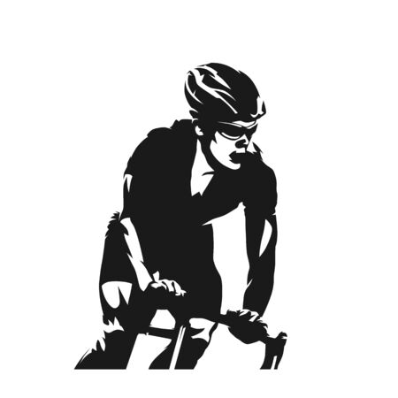 Cyclist vector ink drawing. Cycling, abstract vector silhouette. Front view Ilustração Vetorial