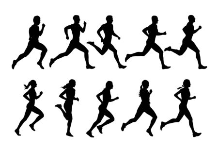 Running people, vector runners, group of isolated silhouettes, side view