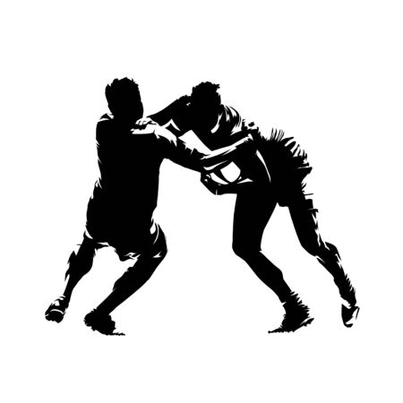 Rugby players dump, abstract isolated vector silhouette. Rugby tackle