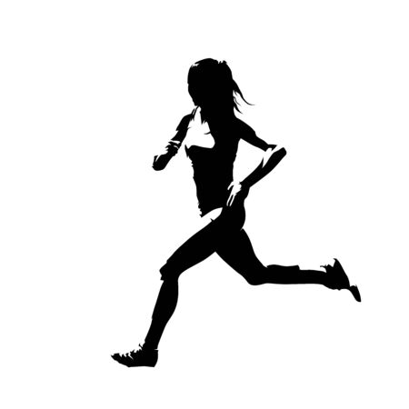 Running woman, abstract isolated vector silhouette. Ink drawing, side view
