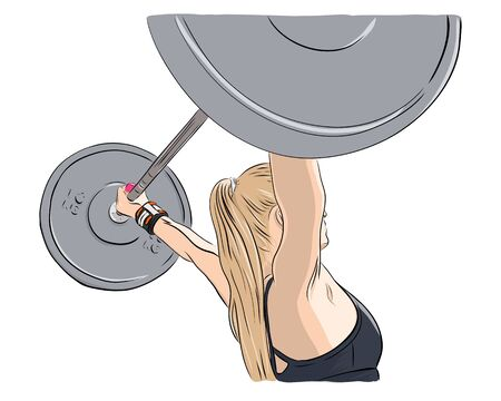 Weight lifting, woman lifts big barbell. Fitness illustration. Isolated vector drawing