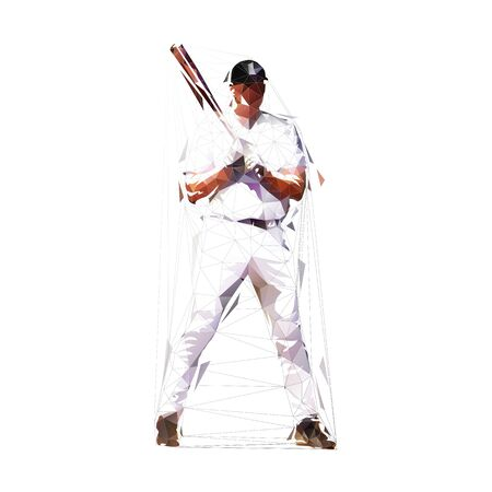 Baseball player standing with bat, low poly isolated vector illustration. Geometric baseball batter